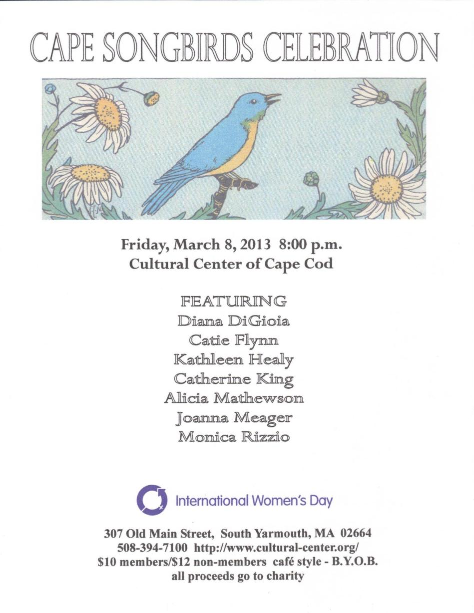 Cape Song Birds - March 8 at Cultural Center of Cape Cod